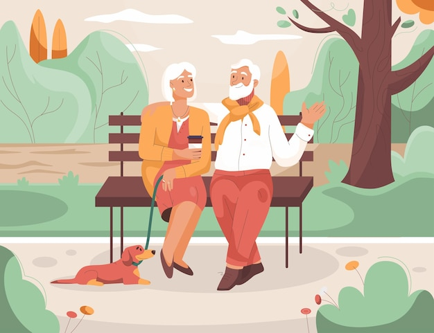 노인 부부는 도시 공원 할머니와 할아버지에서 쉬고있다