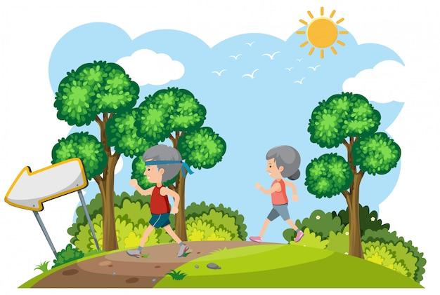 Пожилая пара бега в природе