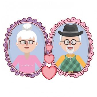 노인 부부 초상화 만화