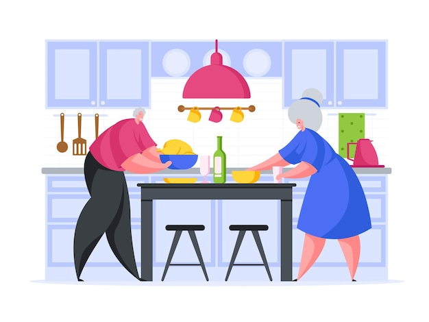 Пожилая пара готовит романтический ужин иллюстрации шаржа