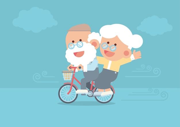 Пожилая пара катается на старинном велосипеде на открытом воздухе в милом плоском мультяшном стиле