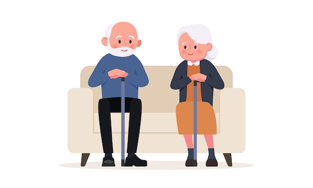 老夫婦は椅子に座っています