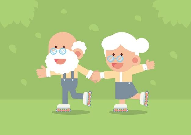 Пожилая пара катается на роликовых коньках на открытом воздухе в милом плоском мультяшном стиле