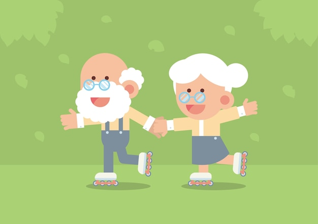 Elderly couple skating on roller blades outdoor in cute flat cartoon style