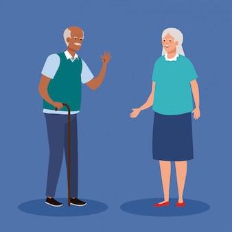 노인 부부 미소, 늙은 여자와 노인 커플 일러스트 디자인
