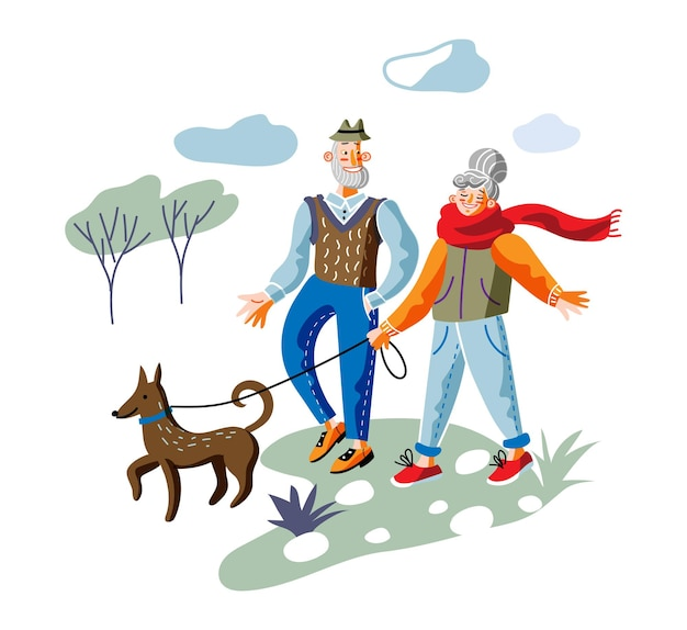 Elderly couple on stroll aged pair on outdoor walk with dog in park