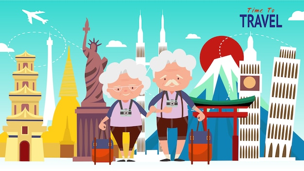 Elderly couple travel composition with famous world