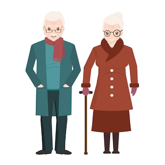 Elderly couple and wear winter clothing icon