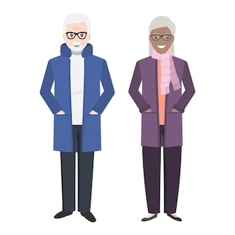 Elderly couple and wear winter clothing
