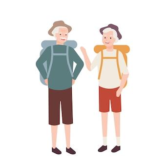 배낭과 노인 부부. 하이킹 또는 모험 관광을 연습하는 늙은 남자와 여자의 쌍. 할머니와 할아버지를위한 야외 레크리에이션 활동 또는 취미. 플랫 만화 그림입니다.