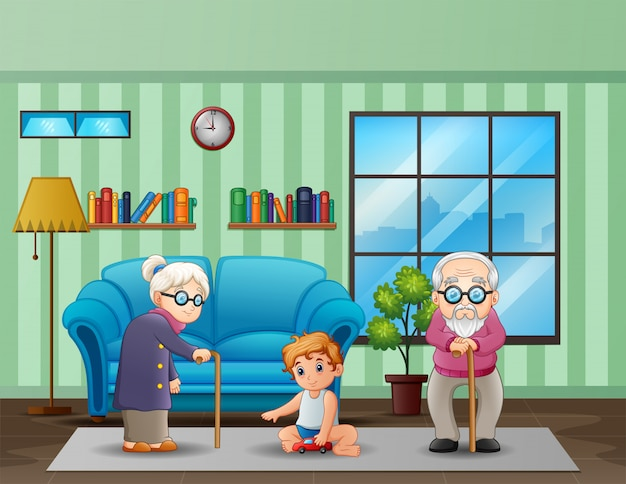Elderly couple with a children in the living room