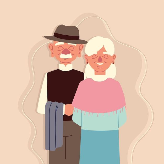 노인 귀여운 커플
