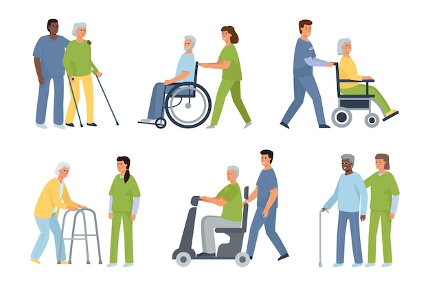 Elderly disabled patients and nurse and caregiver
