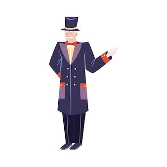 Elderly doorman in retro uniform flat cartoon style vector illustration