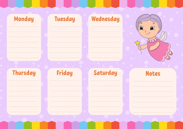 Elderly fairy. school schedule. timetable for schoolboys. empty template.