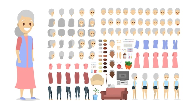 Elderly female character set for animation with various views, hairstyles, face emotions, poses and gestures. isolated flat vector illustration