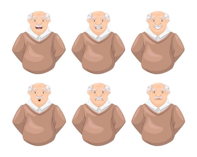 高齢者の祖父の顔の感情セット老人の表情