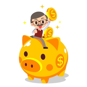 Elderly grandpa riding on piggy bank with gold coins