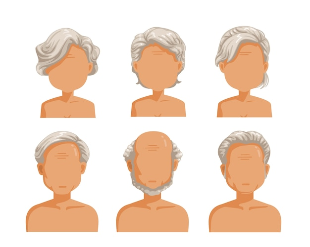 高齢者の髪型セット。男と女の髪型セット。