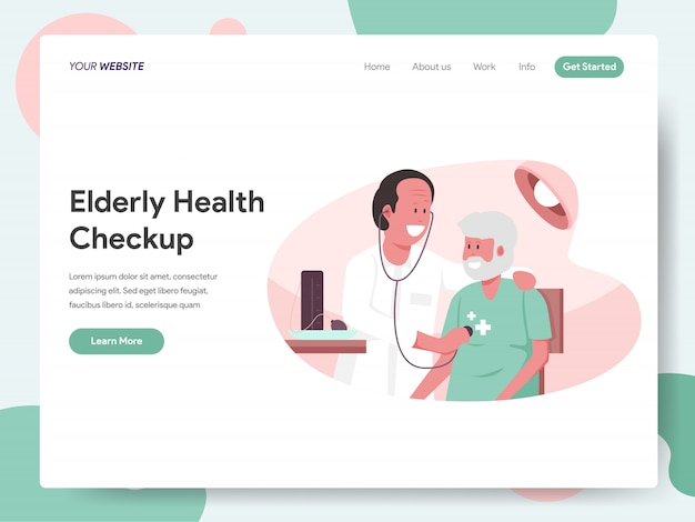 Elderly health checkup with doctor banner for landing page