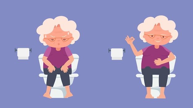 Elderly health concept,elderly constipation elderly lovers, good mood and physical health