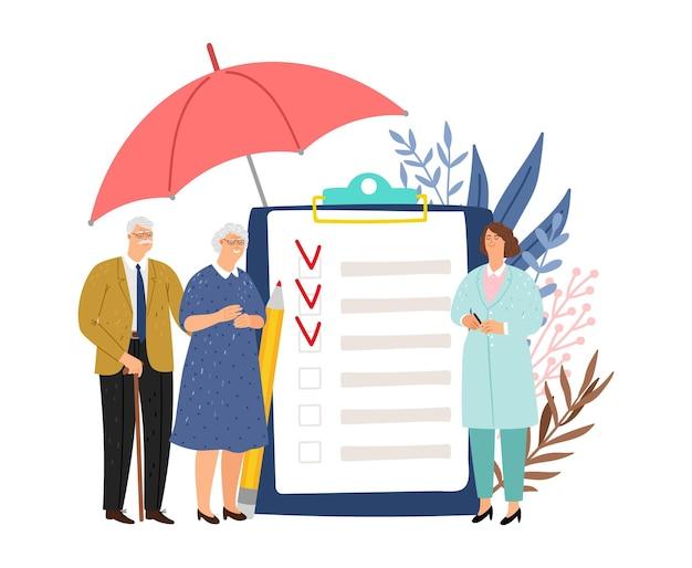 Страхование здоровья пожилых людей. пожилые люди и врачи, защита жизни и векторная концепция коммерческой медицины