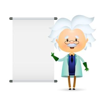 Пожилой лаборант проводит презентацию