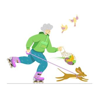 Пожилая женщина на роликах в свободное время улыбается пожилой женщине с милой собакой активное старение