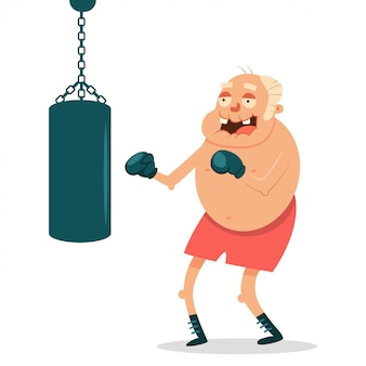 Elderly mаn doing fitness exercises with boxing punching bag. funny grandfather cartoon vector character isolated