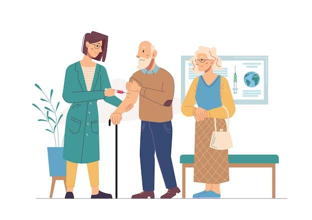 Пожилые люди делают вакцинацию для предотвращения пандемии коронавируса