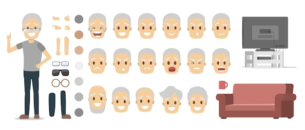Elderly male character in grey t-shirt and blue pants set for animation with various views, hairstyles, face emotions, poses and gestures. isolated flat vector illustration