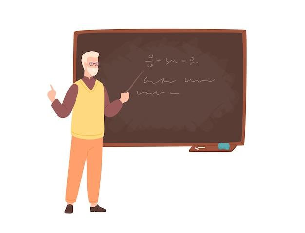 나이 든 남성 대학 교사, 대학 교수, 강사 또는 교육 직원이 칠판 옆에 서서 포인터를 들고 가르치고 있습니다. 평면 만화 스타일의 다채로운 벡터 일러스트 레이 션.