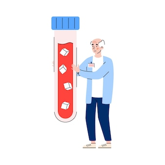 Elderly male patient with diabetes disease holds a test tube with blood