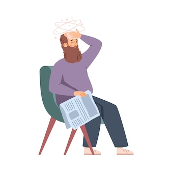 Elderly man in armchair feeling weak and tired flat vector illustration isolated