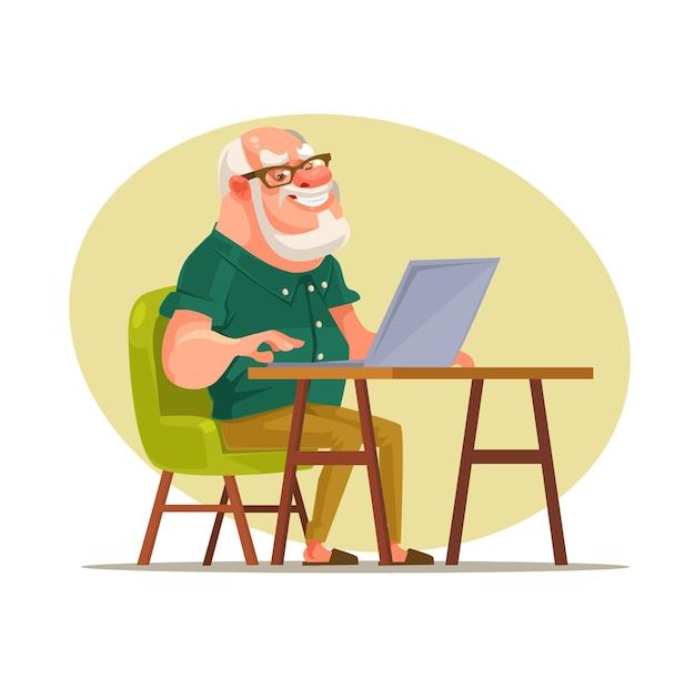 네트워크에서 채팅하는 노인 캐릭터