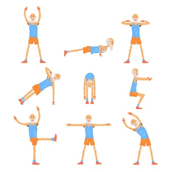 Elderly man character exercising set, healthy active lifestyle retiree, elder fitness  illustrations