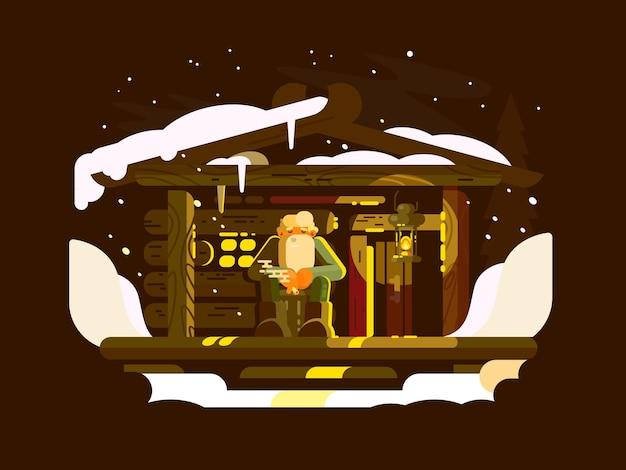 겨울 저녁에 베란다에 앉아 있는 노인 산림 관리인. 벡터 일러스트 레이 션