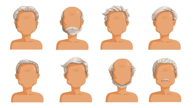 Elderly man hair. grey hair set of men cartoon hairstyles. beard and beard of the old man. collection of fashionable stylish types
