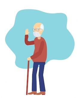 医療マスクの老人。おじいちゃんは医療用マスクを着用します。汚染のための高齢者医療。都市の大気汚染、空中感染症、コロナウイルスの予防マスクのシニアキャラクター。
