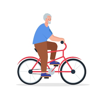 Bycicleの老人笑顔幸せな引退したキャラクターライドバイク高齢者のアクティブなライフスタイル