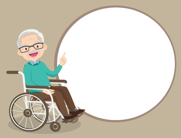 Elderly man on wheelchair pointing finger up