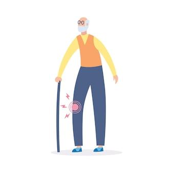 変形性関節症または膝関節の関節炎の変化を持っているスティックを持つ老人