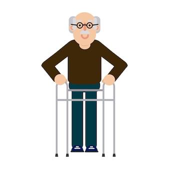 Пожилой мужчина с уокер