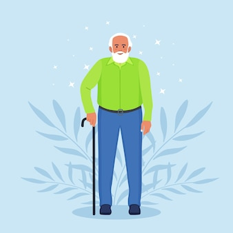 Elderly man with walking cane. handsome old man in casual outfit with stick