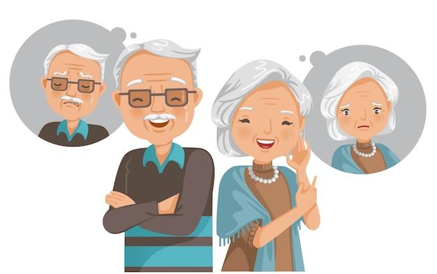노인 정신 건강 개념. 고통과 행복.