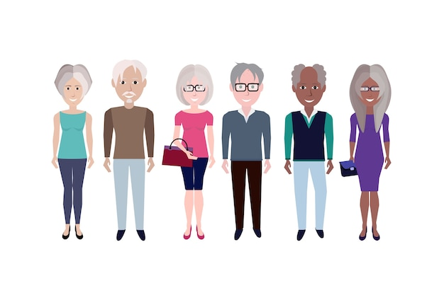 Elderly mix race people group character