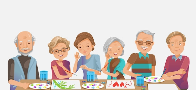Elderly painting. happy senior woman smiling and friends while. drawing as a recreational activity or therapy together.