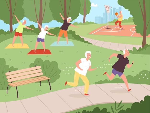 노인 공원 활동. 도시 공원에서 산책하는 노인