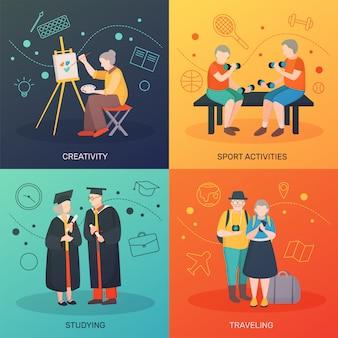 Elderly people activities concept