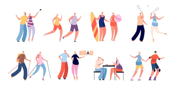 Elderly people activities. seniors sport, healthy active couple. grandparents lifestyle, old male female run and travel vector illustration. grandfather couple grandmother, healthy elderly lifestyle